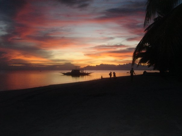 Bohol Pangloao Island sunset from Alona Beach