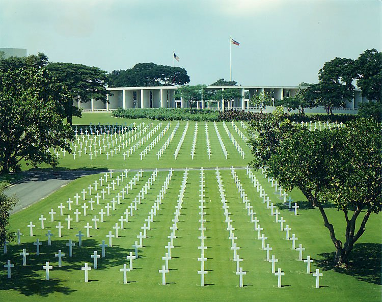 Hundreds of headstones Manila American Cemetery