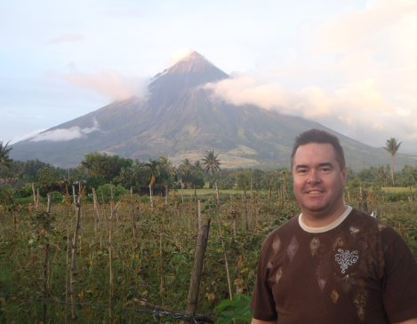View of Mt. Mayon volcano from the western side with the sun setting