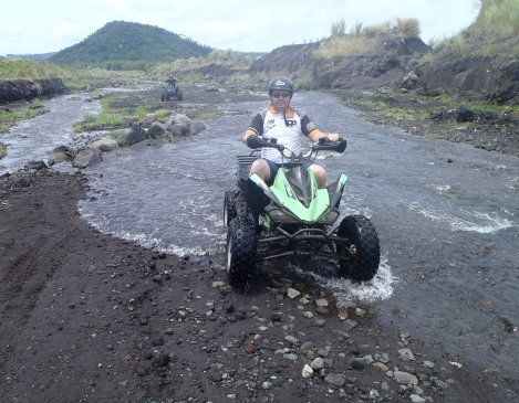 Riding up to the base of Mt. Mayon volcano on the quad bike