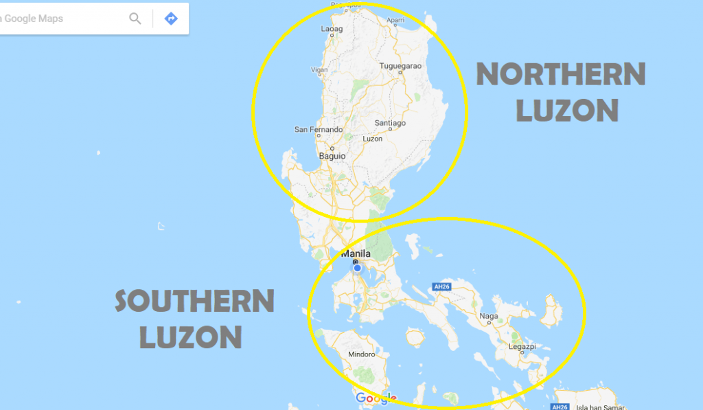 Top 15 tourist spots to visit in south luzon 2018 quick guidedeztreks this map clearly shows the difference in the land structure between northern and southern luzon gumiabroncs Gallery