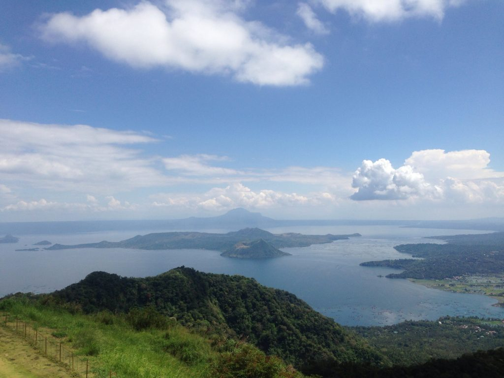 Southern Luzon, view from Taal Vista Hotel looking over Taal crater lake and volcano.