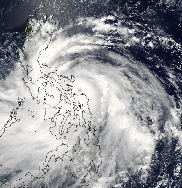 Natural disasters in the Philippines typhoon looming