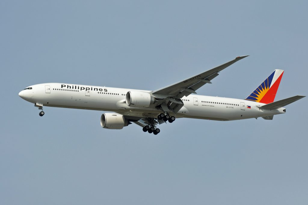 Philippines transport Philippine Airlines plane flying